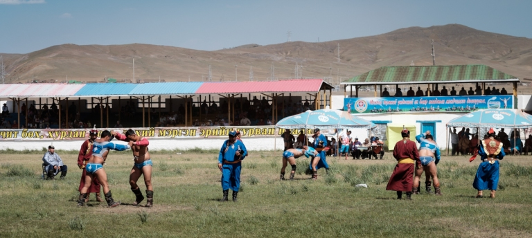 Mongolia-Naadam-Wrestling-Match